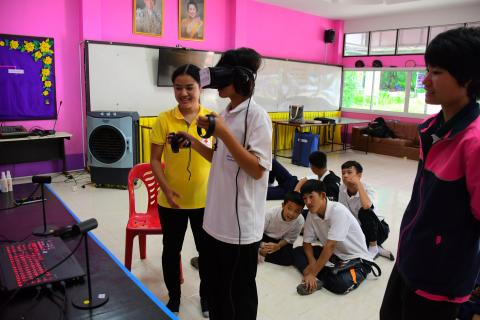 Virtual Reality Disaster Resilience training for students under the School Based Disaster Risk Reduction Project at Banmungsongtos School, in Kanchanaburi Province of Thailand
