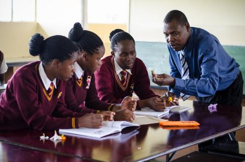 Students from the Zimbabwe Red Cross High School participate in their first laboratory class