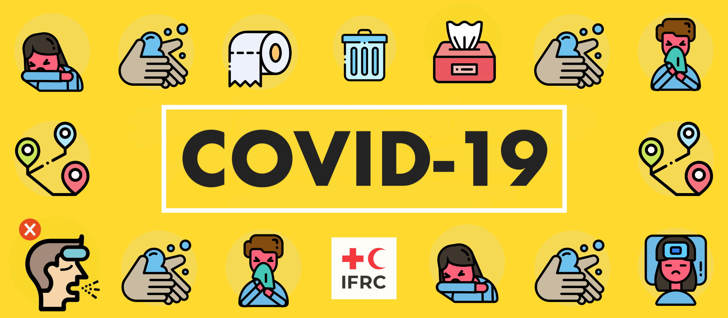 IFRC yellow COVID banner